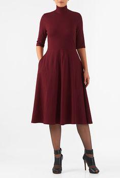 Turtle neck cotton knit dress-CL0053403