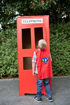 Superhero red phone booth