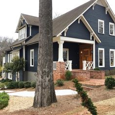 Dark Gray Blue Exterior House Siding 1 2 Witching Hour 1 2 Soot By Sherwin Williams Trim House Paint Exterior House Exterior Blue Craftsman Exterior Colors