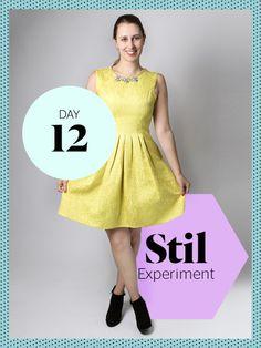 Das heutige Outfit strahlt nur so vor sich hin! Wie sich Eva (die normalerweise nur gedeckte Töne trägt) in diesem gelben Cocktailkleid gefühlt hat, könnt ihr hier nachlesen.