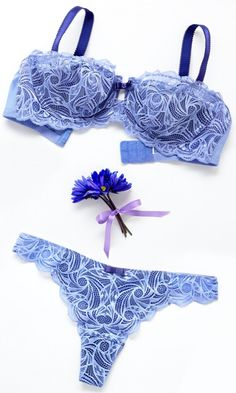 aqua blue lingerie pieces, deep blue flower and purple lace - a perfect sexy gift!