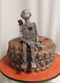 Robot Cake by Amanda Oakleaf Cakes Pretty Cakes, Beautiful Cakes, Amazing Cakes, Cupcakes, Cupcake Cakes, Crazy Cakes, Fancy Cakes, Unique Cakes, Creative Cakes