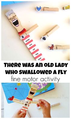 """""""There Was An Old Lady Who Swallowed a Fly"""" Activity- LOVE this! Use it to help preschoolers learn story sequencing and practice fine motor skills!"""