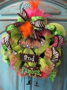 WITCH AND FAMOUS lime deco mesh wreath w/ ribbon and feathers- Halloween wreath via Etsy Holidays Halloween, Halloween Crafts, Halloween Decorations, Happy Halloween, Halloween Wreaths, Google Halloween, Fall Decorations, Halloween Ideas, Halloween Party