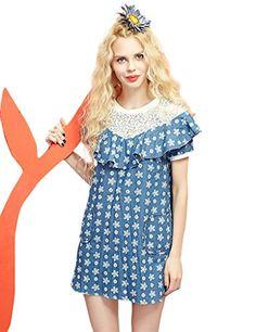 Spring Jeans Printed Lace Sliced Denim Dress