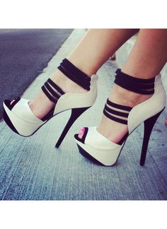 Black and White Strappy Snaky Platform High Heels