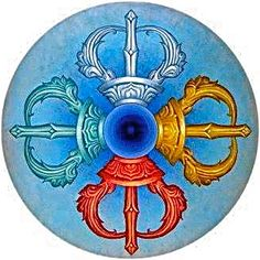 This is a Tibetan Dorje (Vajra in Sanskrit) meaning both thunderbolt and diamond. Additionally, it is a weapon which is used as a ritual object to symbolize both the properties of a diamond (indestructibility) and a thunderbolt (irresistible force). There's a great similarity between it's appearance and the Medicine Wheel of First Nations cultures, even the colours: Yellow represents Air & Spring, Red = Fire & Summer, Blue = Water & Fall, White = Earth