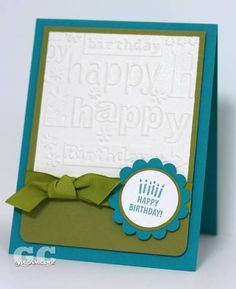 So Many Scallops stamp set; Whisper White/Taken with Teal/Old Olive cardstock; Taken with Teal ink; Old Olive grosgrain ribbon; circle/scallop punches; Birthday Cuttlebug die template