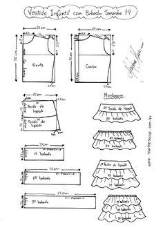 Esquema de Modelagem de Vestido Infantil com Babados em Camadas tamanho 14.