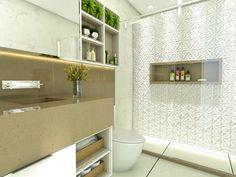 Banheiro. #espelho #revestimento #silestone #decoração #arquitetura #banheiro #deca #vegetação #nicho