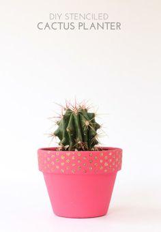 stenciled cactus planter gift idea  - DIY Mod Podge Rocks Peel & Stick Stencils