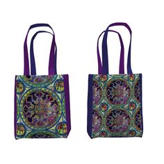 Sprout Studio Everyday Tote made with Spoonflower designs on Sprout Patterns. Spanish tiles, sky and nebula design, marbled background