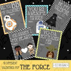 The Force inspired Star Wars Valentines bb8 by JCTDesignz on Etsy