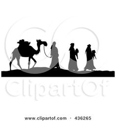 f348e79fdfe Royalty-Free (RF) Clipart Illustration of a Black And White Silhouette Of  The Three Wise Men Bearing Gifts And Walking With A Came by Pams Clipart
