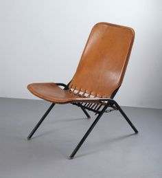 Olle Pira; Leather and Enameled Metal 'Piraten' Folding Chair for NK Verkstaeder, 1954.