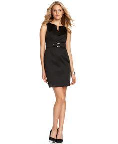 AGB Dress, Sleeveless Split Neck Buckle Front Sheath - Dresses - Women - Macys