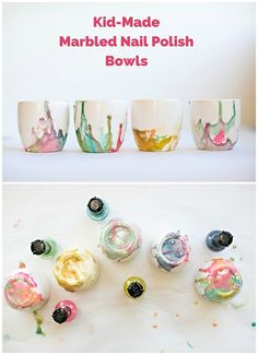Make beautiful marbled bowls with the kids using nail polish! These make pretty and lovely handmade gifts from the kids.
