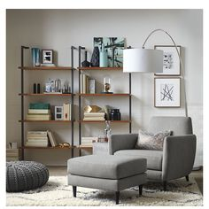 """Shop helix 70"""" acacia bookcase.   All the right angles for all the right stuff.  Four fixed acacia veneer shelves stained a warm midtone brown ladder a squared metal tube frame powdercoated carbon."""