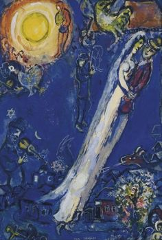 Chagall, Marc - The betrothed to the bird - Ecole de Paris - Gouache - Abstract