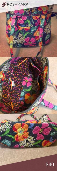 "Vera Bradley large tote bag Vera Bradley large tote bag with pink grey yellow floral pattern 14 x 14 x 6 1/2"" 6 interior pockets and 2 exterior pockets one that zips very good condition Vera Bradley Bags Totes"