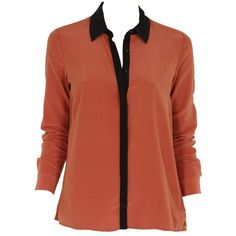 Maison Scotch - Silk Shirt with Contrast Collar 20746 (€43) ❤ liked on Polyvore featuring tops, blouses, shirts, blusas, camisas, blush, red blouse, red silk shirt, feather shirt and shirt blouse