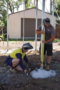 The builder and welder ensuring the lugs to hold the subfloor are level before tacking into place. House Lift, Raised House, Queenslander, Weird Holidays, New Builds, Hold On, Shed, Outdoor Structures, Building
