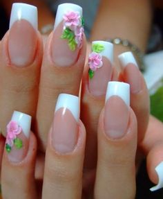 love flowers in another color Beautiful nails for fancy occasions- these would be perfect for a wedding! Hot Nails, Hair And Nails, Simple Acrylic Nails, Geometric Nail, Sparkle Nails, Toe Nail Designs, Flower Nails, Spring Nails, Wedding Nails