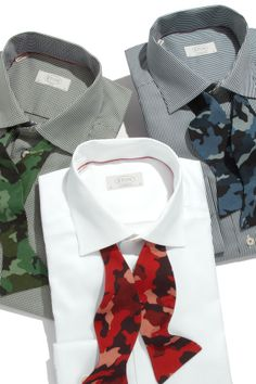 Bow ties bring the print of the season to your man's evening look.