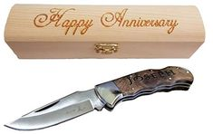 Brass Honcho Personalized Gifts for Men Engraved Pocket Knife Custom Engraved Handle and Gift Box Great Last Minute Gift *** Learn more by visiting the image link. (This is an affiliate link) Custom Pocket Knives, Engraved Pocket Knives, Wood Gift Box, Wood Gifts, Personalized Gifts For Men, Unique Gifts For Men, Best Camping Knife, 2nd Anniversary Gifts, Gift Boxes Online
