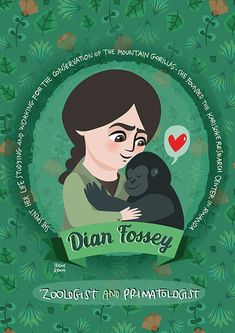 Dian Fossey Women in Science poster | Etsy Dian Fossey, Katherine Johnson, Mountain Gorilla, Science Illustration, Science Photos, Primates, Science For Kids, Women In History, Poster Prints