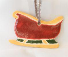 Sleigh Ornament - Christmas Ornament - Ceramic Ornament by GlazeGirlDesigns on Etsy
