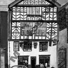 Tudor House,  B&W by Jill Pears, using a different take on my original painting