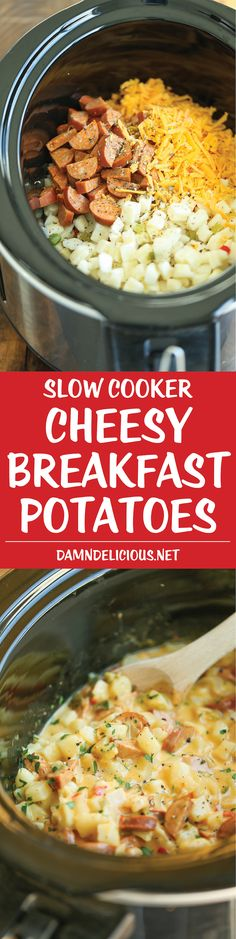 Slow Cooker Cheesy Breakfast Potatoes