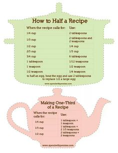how to half a recipe - or third