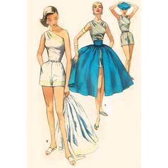 Shorts with Over Skirt Simplicity 1605 Vintage Sewing Pattern Bare Shoulder Pleated Skirt Bust 32 UNCUT Pin Up Style Resort Wear. Vintage Dress Patterns, Clothing Patterns, Vintage Dresses, Vintage Outfits, 1940s Fashion, Vintage Fashion, Barbie Vintage, Patron Vintage, Illustration Mode