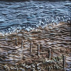 Shoreline, by Fiona Rainford - beautiful. Textile Texture, Textile Fiber Art, Textile Artists, Creative Textiles, Textiles Techniques, Landscape Quilts, Fabric Manipulation, Wet Felting, Fabric Art