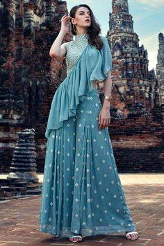 Buy designer salwar kameez and indian salwar kameez online. Order this georgette blue embroidered Designer Suit. Party Wear Indian Dresses, Designer Party Wear Dresses, Indian Gowns Dresses, Indian Fashion Dresses, Dress Indian Style, Indian Wedding Outfits, Indian Designer Outfits, Indian Outfits, Bridal Dresses