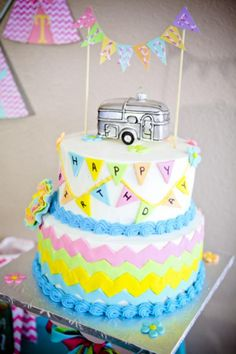 Love this - 'Glampout' cake - http://www.karaspartyideas.com/2013/02/glampout-girl-camping-birthday-party.html