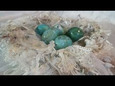 Shabby chic lace birdnest with altered real eggs - YouTube