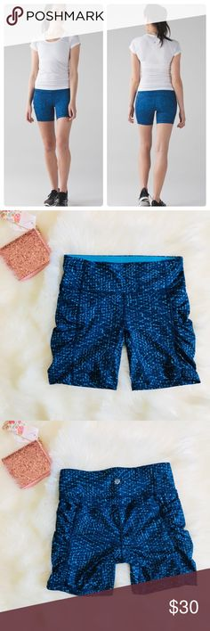 """Lululemon speed track shorts samba snake blue Luxtreme tight speed track shorts in color Samba snake kayak blue hero blue. Feels like a second skin! In like new condition, worn a couple of times at most.  Measurements are approximate  Waist 13""""  Length 14"""" lululemon athletica Shorts"""