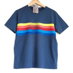 RETRO STRIPES t shirt. 100% organic cotton t-shirt. Hand printed. Blue shirt. Rainbow stripes. Rainbow t-shirt by Smukie on Etsy