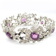 Trifari  Alfred Philippe  Pave and Amethysts Floral Link Bracelet