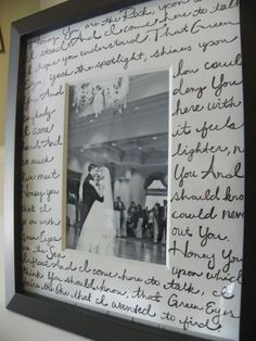 Great idea: lyrics to the first dance on the matte for a framed photo.