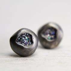 post earrings with iridescent silver sparkles - oxidized silver jewelry - organic post earrings. $48.00, via Etsy.
