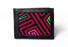 Men's Wallet with geometric Mola Textile