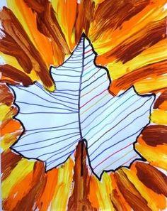 graphisme-dans-une-empreinte-de-feuille-+-lignes-obliques-à-la-peinture-aux-couleurs-de-lautomne. Fall Arts And Crafts, Autumn Crafts, Autumn Art, Autumn Theme, Autumn Activities, Art Activities, Tree Study, Fall Art Projects, Jr Art