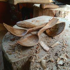Three beautiful beech spoons, hand carved by Derek Sanderson
