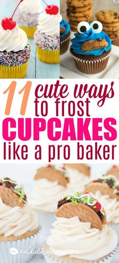 16 ideas baking for beginners cupcakes cake designs Cake Decorating Company, Creative Cake Decorating, Cake Decorating Tools, Creative Cakes, Cookie Decorating, Decorating Ideas, Frost Cupcakes, Fun Cupcakes, Simple Cupcakes