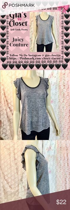 JUICY COUTURE FLUTTER TOP Marled design, Scoopneck with embellished trim, Short flutter sleeves, Polyester, rayon, spandex, Machine wash Juicy Couture Tops Tees - Short Sleeve