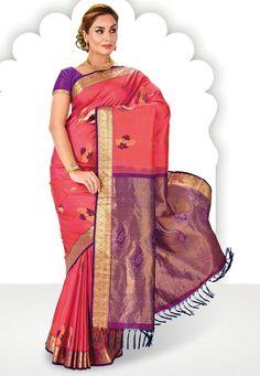 Pink and Purple Dual Tone Pure Kanchipuram Silk Saree with Blouse